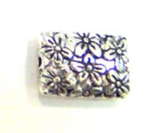 Lead Free Pewter Floral Pillow Style Bead (EF8679)   SRA-D84