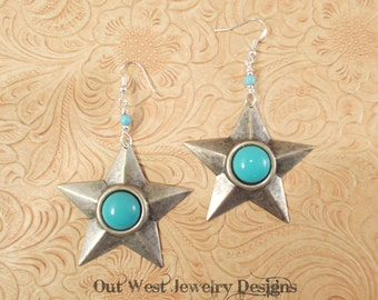 Cowgirl Earrings - Silver Plated Stars with Turquoise Glass and Sterling Earwires