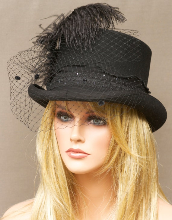 Black Wool Women's Top Hat - Steampunk, Victorian Edwardian Inspired. Kentucky Derby Hat