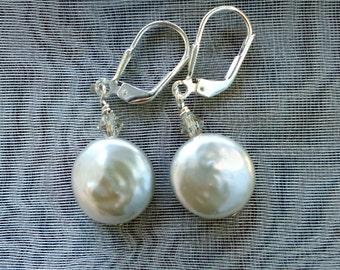 Simple Coin Pearl Sterling Silver Earrings