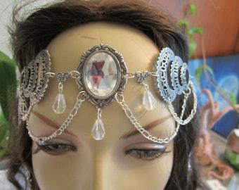 Crystaline Circlet of the Lunar Light Triple Moon Celtic Druid LARP Bridal Renaissance Priestess