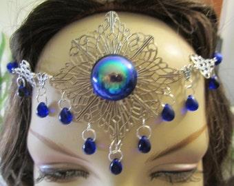 Shimmering Sapphire Circlet of the Water Fairy Elven Celtic Druid LARP Bridal Renaissance