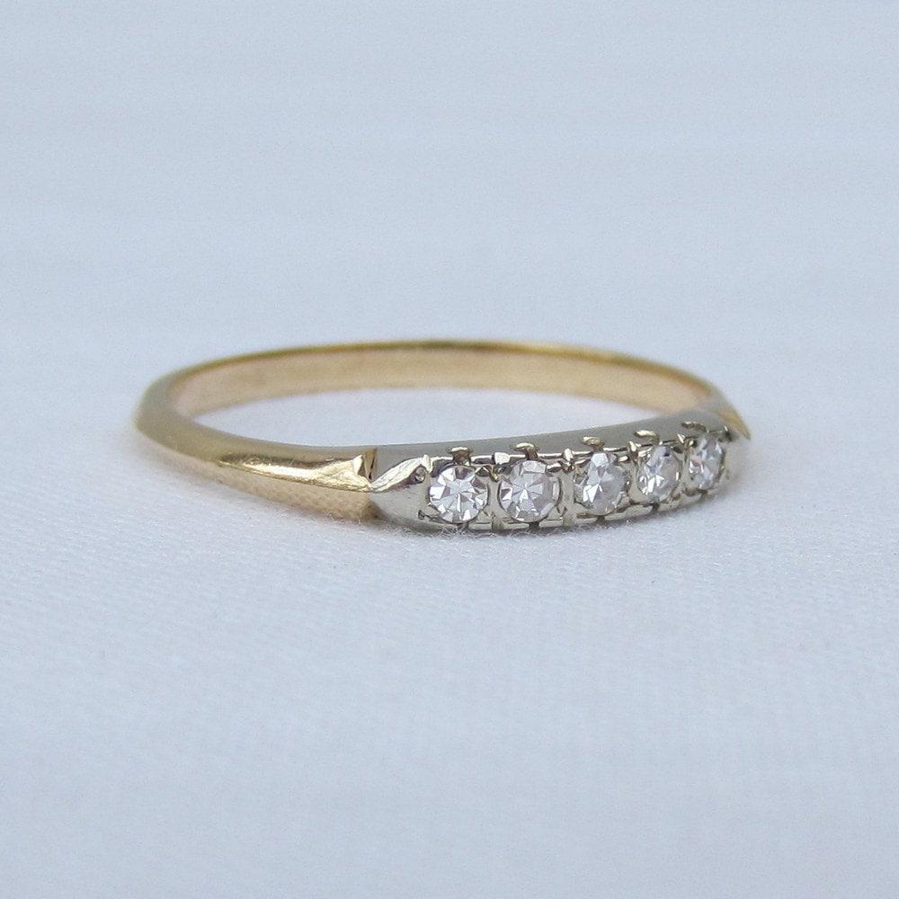 Retro Diamond Wedding Band White And Yellow Gold Wedding Ring