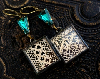Modern Victorian, Emeralds and Vintage Lace Under Glass Earrings I