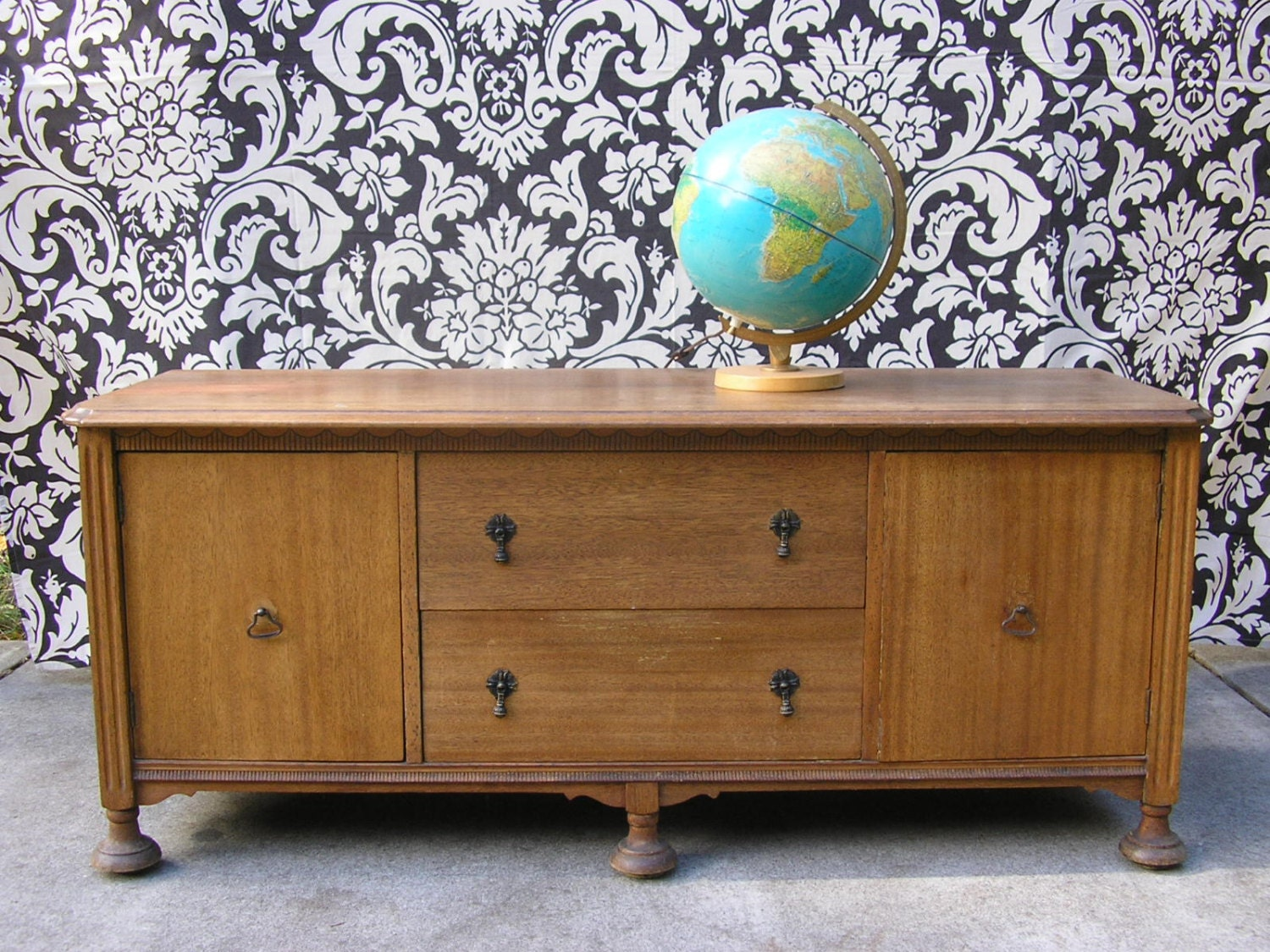 RESERVED Vintage Buffet 1930s Antique Credenza Long By SoSylvie. Full resolution  portrait, nominally Width 1500 Height 1125 pixels, portrait with #764A26.