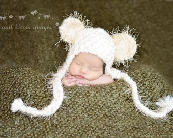 Sweet Dreams Fuzzy Earflap Bear Hat