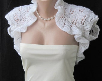 Bridal White Hand Knitted Sleeves Wedding Shrug