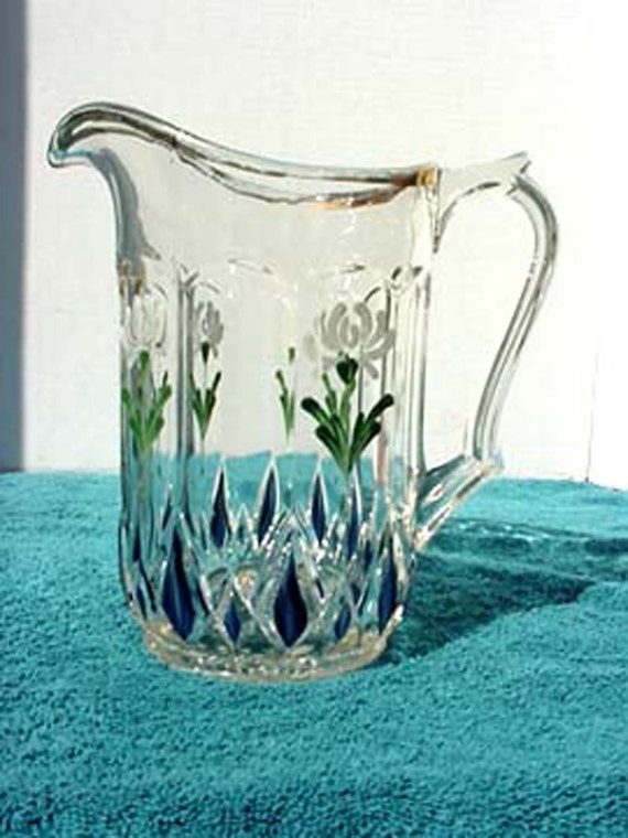 1900 S Hand Painted Pressed Glass Water Pitcher Mint