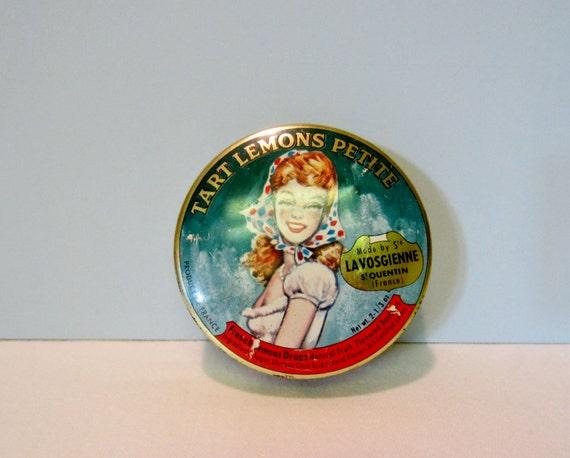 Vintage Candy Tin - French Tin - Lemon Candy Tin