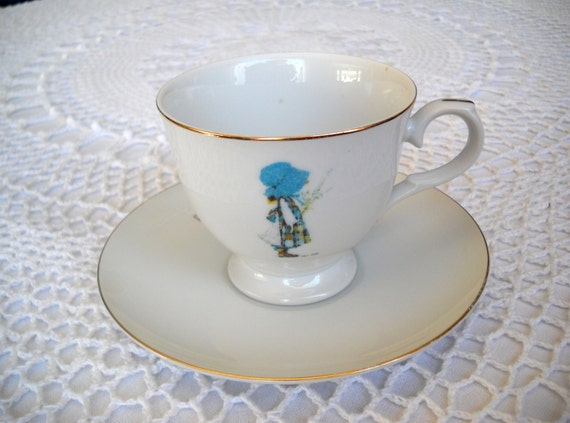 Vintage Holly Hobbie Cup And Saucer Set 1975 Doll Pictured
