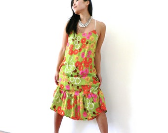 SALE Neon Floral Ruffle Maxi Dropped Waist Slip Dress - Size S/M