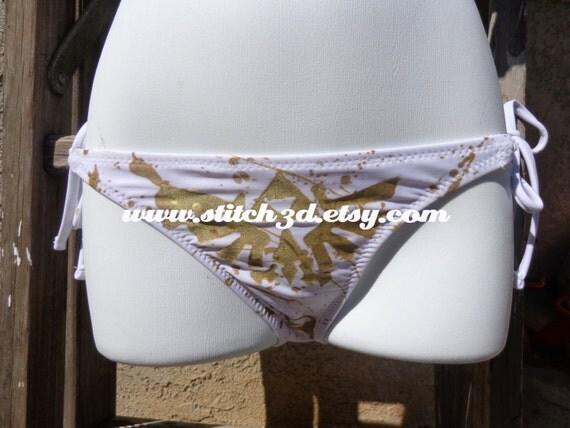 Small LIMITED WHITE triforce eagle Legend of Zelda bikini BOTTOM