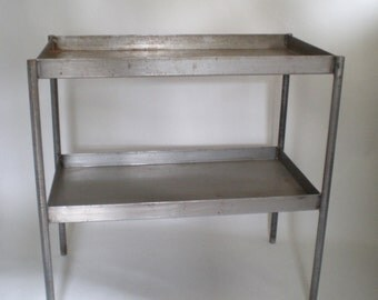 Industrial Metal Two Tier Table