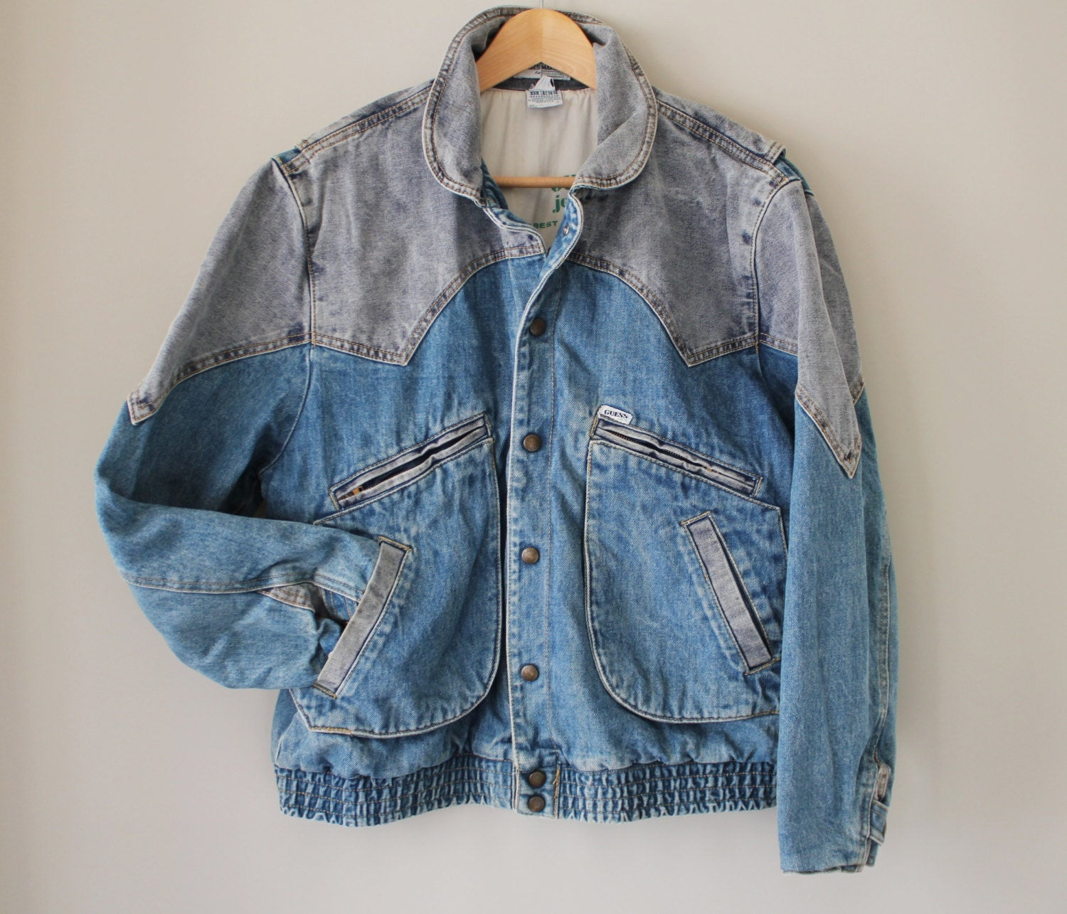 80s Vintage Guess Denim Bomber Jacket Two Tone New Wave