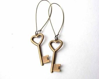 heart skeleton key earrings - key to my heart jewelry