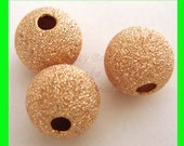 4pcs 8mm 14k ROSE gold filled seamless Stardust round beads RB18