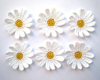 Crochet daisies applique - crochet flowers applique - white flowers embellishments - wedding decorations - kids party decor - set of 6