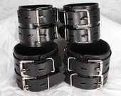 Double Strap Wide Leather Cuffs