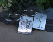 Personalized Keychain..Your Childs Drawing on Fine Silver..Made to Order