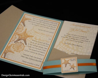 Star Fish in Sand Pocketfold Wedding Invitation