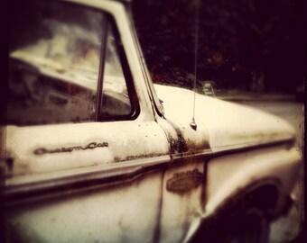 Haunting Old Truck, Vintage Style mini Photo, 5x5 8x8 10x10 13x13 Fine Small Art print, Creepy Home Decor Crude Art