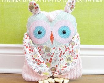 Big Plush Owl Friend - Stuffed Owl Decor Pillow - Gray and Pink Cotton fabrics wit Pink Chenille