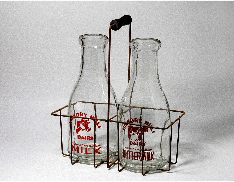 Vintage Milk Bottle Carrier Wire Basket With Milk Bottles