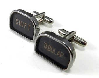 Antique Typewriter Cuff Links SHIFT TABULAR Typewriter Key Cufflinks Vintage Typewriter Cufflinks - Larger Size