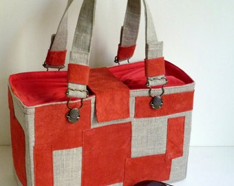 Mini basket natural linen, red leather