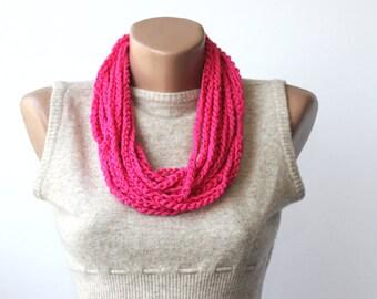 Nina neon necklace boho fashion necklace hot pink scarf necklace infinity necklace vegan scarf chain scarf necklace textile jewelry gift