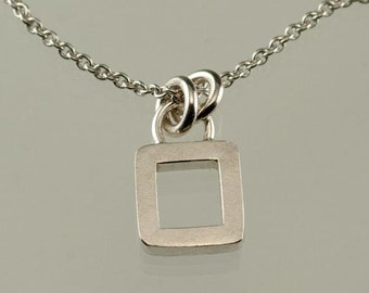 Little Square Sterling Silver Pendant Necklace Simple Modern