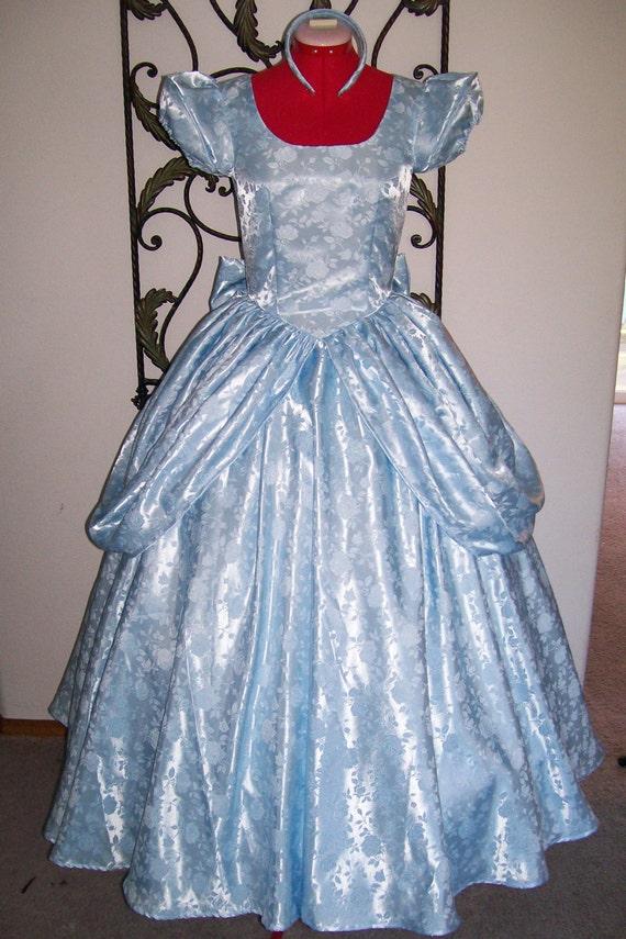 Blue Satin Rose Brocade Custom Cinderella Ball Gown Dress