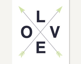 Typographic Print Artwork - Love w Crossed Arrows - black green grey - digital print giclee home decor poster by ColorBee