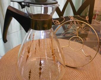 Atomic Coffee Carafe With Tripod Wire Warmer Stand MCM Coffee/Tea Eames Era Modern Style