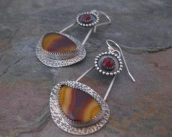 Laguna Agate and Garnet Earrings
