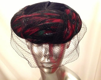 Vintage Hat Black Multi Colored Feathers Pill Box Style W / Veil