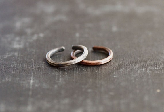 Sterling Silver and Copper Toe Ring Set