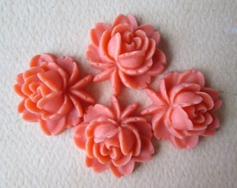 4PCS - Rose Flower Cabochons - Resin - Coral - 17x18mm Cabochons by ZARDENIA