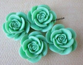 4PCS - Rose Flower Cabochons - 18mm - Mint - Cabochons by ZARDENIA