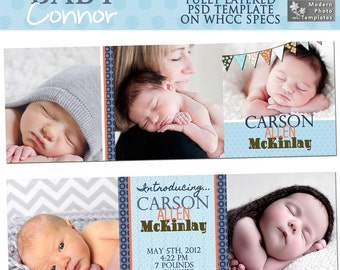 INSTANT DOWNLOAD - Baby Connor 5x5 Trifold Baby Announcement- custom photo template for photographers on WHCC Specs