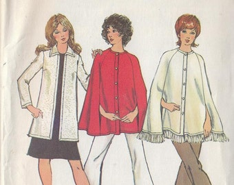 Vintage Sewing Pattern 1970s Misses Cape and Cardigan
