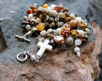 Howlite cross bracelet.  brown beaded feldspar and sterling toggle clasp bracelet / tan white beads pearls wire wrapped gift