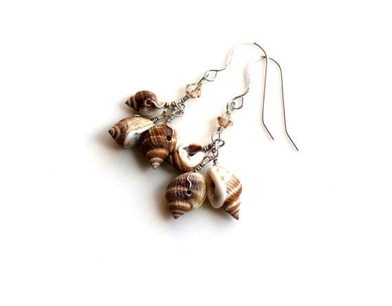 seashell earrings. nutmeg earrings.  sterling silver wrapped swarovski and seashells.  FREE SHIPPING