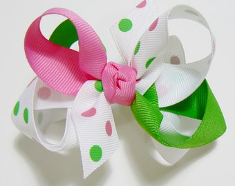 Girls Combination Double Hair Bow Polka Dot Kids Ribbon Bow Hair Clip Hairbows Hair accessories