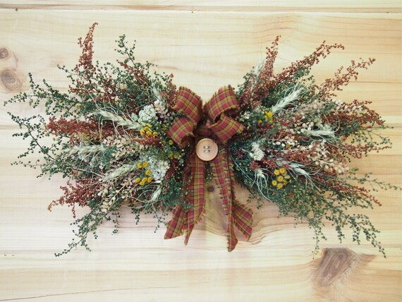 Small Rustic Dried Flower Swag Perfect Farmhouse Decor