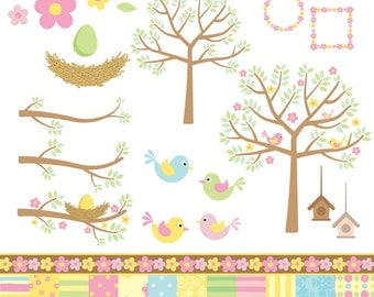 Spring is Here - Birds, Trees, Birdhouse, Nest and Papers - Digital Clip Art PACK