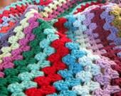 Afghan Crochet Blanket BLISS Granny Stripes Cosy Colourful Vibrant