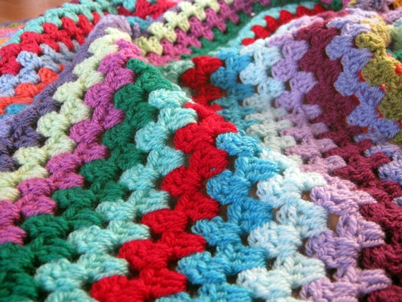 Afghan Crochet Blanket BLISS Granny Stripes Cosy Colourful Vibrant
