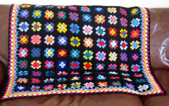 Ava Classic Traditional Black Crochet Granny Square Blanket Afghan Throw