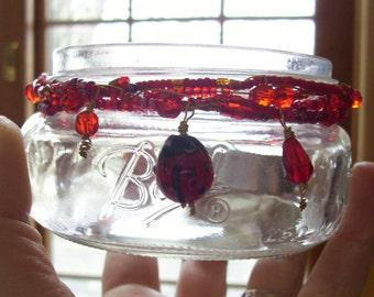 Ladybug Jar - Wire Wrapped Beaded Jar - Votive Holder / Plant Rooter